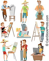 Artist Cartoon Set - Artist cartoon set with poeple and...