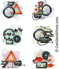 Car Maintenance Sign Set - Car repair and maintenance symbol...