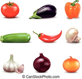 Set Of Fresh Vegetables Icons - Set of fresh vegetables in...
