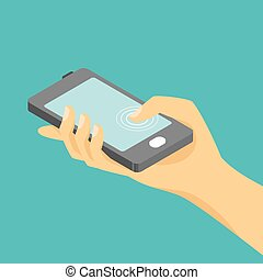 Vector isometric illustration of hand and a smartphone.