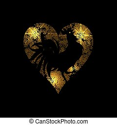 Heart of light dots and stars on a black background...