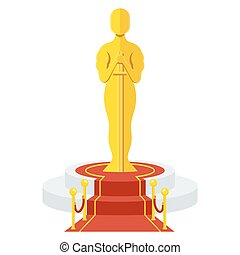 award on podium - Statuette Award Festival Oscar on red...