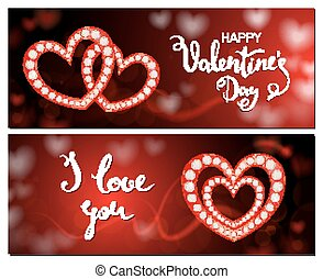 Set of Valentine's Day cards, heart of glitter, diamond decoration, elegant style in red gold