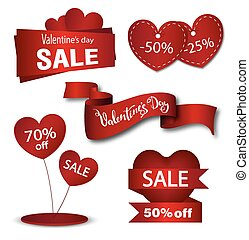 Set of Valentine's sale banners, frames, labels, ribbons, stickers