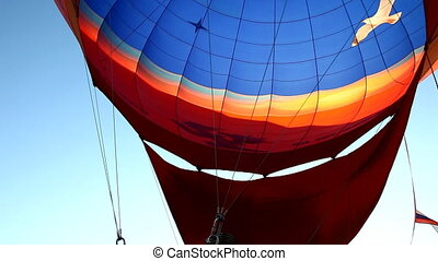 Hot Air Balloon fly up at sunrise
