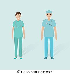 Hospital staff concept. Couple of male orderly and female...