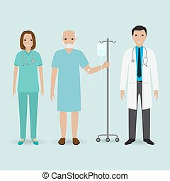 Hospital staff concept. Doctor, nurse and senior patient with drop counter. Medical people.
