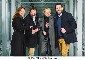 group of business people rejoicing success transaction in...