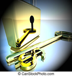 Dollar Key With Padlock Showing Banking Savings 3d Rendering