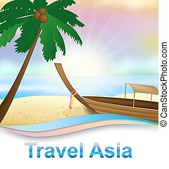 Travel Asia Beach Indicating Tours Trips 3d Illustration -...