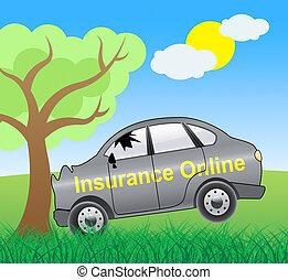 Insurance Online Showing Car Policy 3d Illustration -...