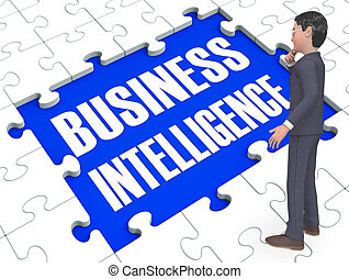 Business Intelligence Puzzle Shows Opportunities 3d Rendering