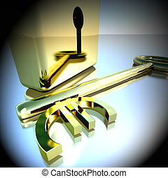 Euro Key With Gold Padlock Showing Banking Savings 3d Rendering