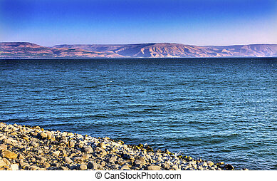 Sea of Galilee Capernum from Saint Peter's House Israel...