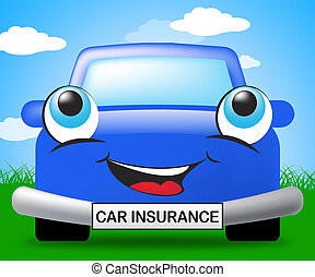 Car Insurance Represents Auto Policy 3d Illustration - Car...