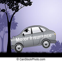 Motor Insurance Sign Showing Car Policy 3d Illustration -...