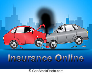 Insurance Online Shows Car Policy 3d Illustration