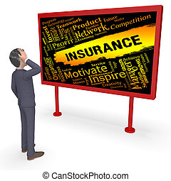 Insurance Words Representing Contract Covered 3d Rendering -...