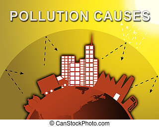 Pollution Causes Means Air Contamination 3d Illustration -...