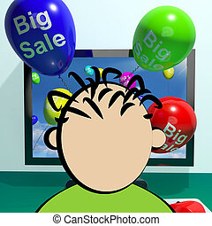 Sale Balloons Coming From Computer 3d Rendering