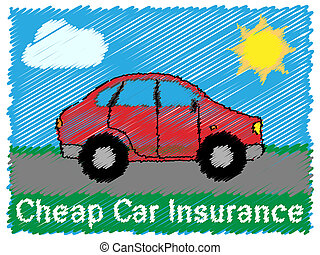 Cheap Car Insurance Means Auto Policy 3d Illustration -...