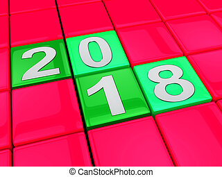 Two Thousand Eighteen Indicates 2018 3d Illustration - Two...