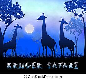 Kruger Safari Showing Wildlife Reserve 3d Illustration -...
