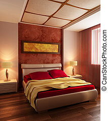 modern style bedroom interior 3d