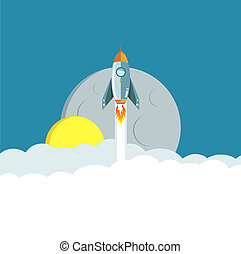 Rocket ride to the moon at night concept illustration design...
