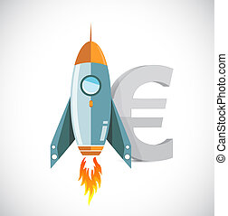 euro rocket currency concept