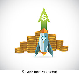Profits Rocket concept illustration design graphic over...