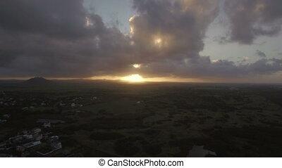 Golden sunset in Mauritius