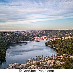 Skradin panorama aerial - Skradin is a small historic town...