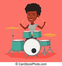 Woman playing on drum kit vector illustration. - An...