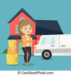 Woman moving to house vector illustration. - Homeowner...