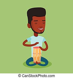 Man playing ethnic drum vector illustration. - An...