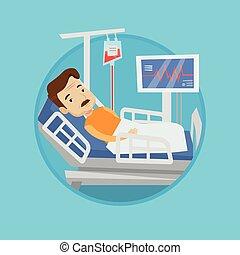 Man lying in hospital bed vector illustration. - Caucasian...