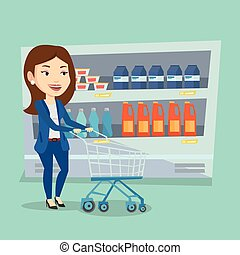Customer with shopping cart vector illustration. - Caucasian...