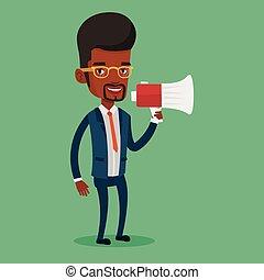 Business man speaking into megaphone.