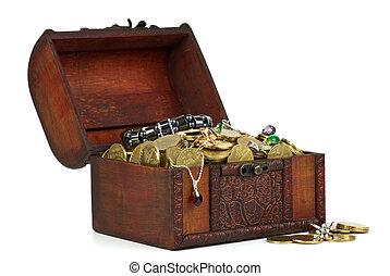 Treasure: wooden chest with golden coins, gems, rings, etc...