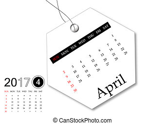 April 2017 - Calendar series for tag design