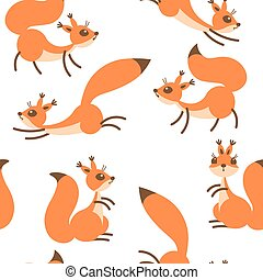 Little cute squirrels. Seamless pattern for gift wrapping, wallpaper, childrens room or clothing.