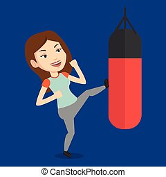 Woman exercising with punching bag.