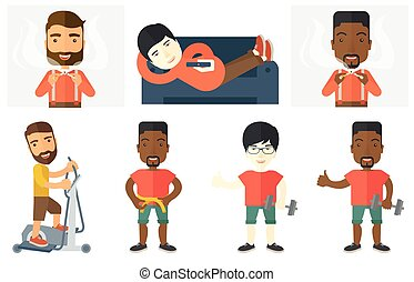 Vector set of sport characters. - Young man breaking the...