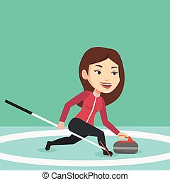 Curling player playing on the rink. - Young caucasian female...