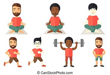 Vector set of sport characters. - Young man meditating in...