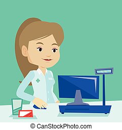 Pharmacist at counter with cash box. - Smiling pharmacist in...