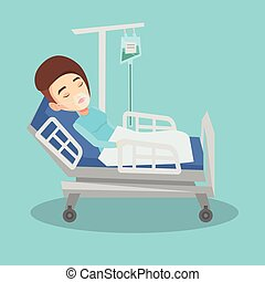 Patient lying in hospital bed with oxygen mask. - Young...