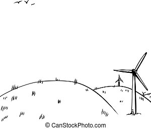 Outilned Wind Turbines on Hill