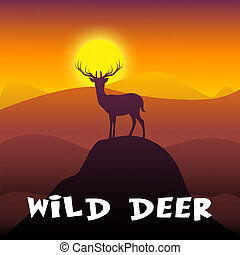 Wild Deer Shows Stag Wildlife 3d Illustration - Wild Deer...